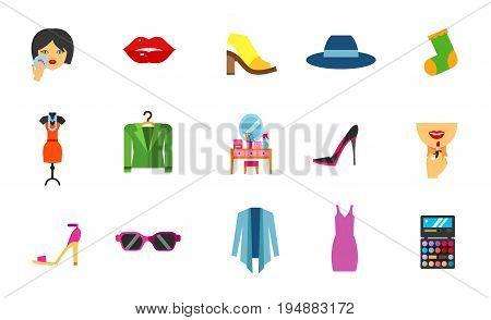 Fashion icon set. Mule shoe Hat Sock Evening dress Jacket High heel shoe Sandal Sunglasses Cardigan Sundress. Contains bonus icons of Powdering Lips Dressing table Applying lipstick on lips Palette