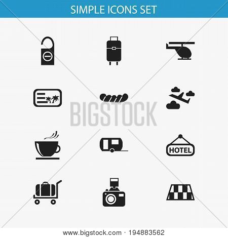 Set Of 12 Editable Trip Icons. Includes Symbols Such As Invitation, Cup, Caravan And More. Can Be Used For Web, Mobile, UI And Infographic Design.
