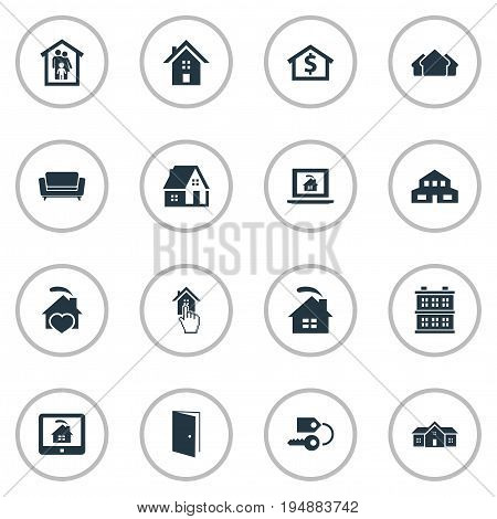 Vector Illustration Set Of Simple Real Icons. Elements Choose, Domicile, Real Estate Database And Other Synonyms Cottage, Stock And Hut.