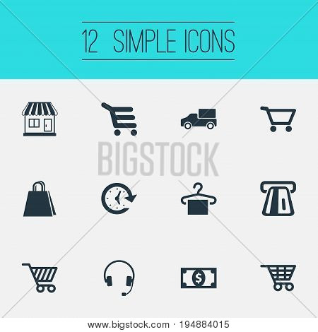 Vector Illustration Set Of Simple Shopping Icons. Elements Currency, E-Commerece, Boutique And Other Synonyms Store, Open And Cart.
