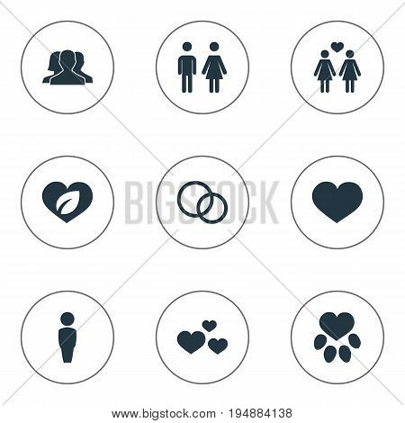 Vector Illustration Set Of Simple Valentine Icons. Elements Communication, Love, Footprint And Other Synonyms Ecology, Leadership And Paw.