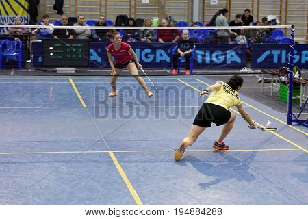 ST. PETERSBURG, RUSSIA - JULY 7, 2017: Yaelle Hoyaux of France (left) vs Beatriz Corrales of Spain in 3rd day of badminton tournament White Nights. Corrales won 2:0