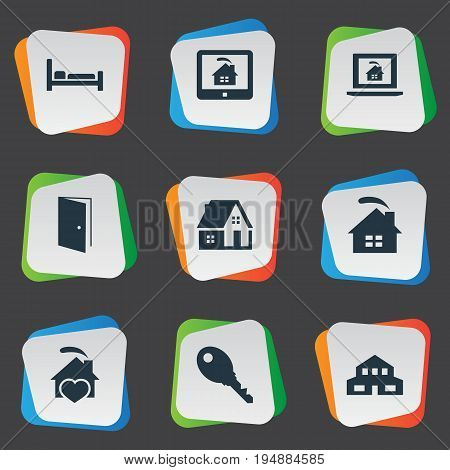 Vector Illustration Set Of Simple Real Icons. Elements Comfort, Property, Residence And Other Synonyms Hostel, Lock And Heart.