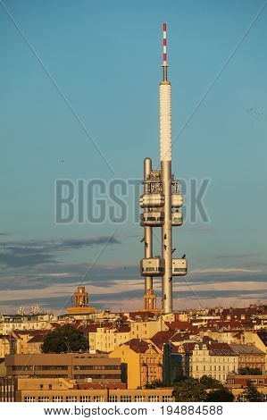 Zizkov TV tower . View from the Powder Tower on the Prague landscape on a sunny day with the famous Zizkov TV tower on the horizon. Czech Republic Prague