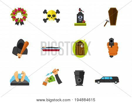 Funeral icon set. Funeral wreath Gravestone Last nail Coffin Digging hole Dead man Funeral urn Hearse. Contains bonus icon of Hand pointing gun Hooligan Robbery Death sign