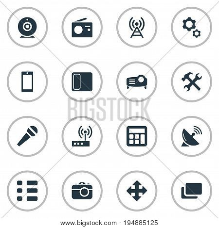 Vector Illustration Set Of Simple Technology Icons. Elements Telecommunication, Adding Device, Call And Other Synonyms Report, Adding And Layout.