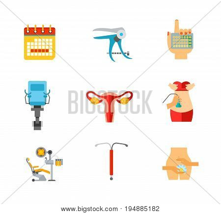 Gynecology icon set. Menstrual calendar Speculum Contraceptive pills Gynecological chair Female reproductive system Ultrasound diagnosis Iud Gynecology concept. Contains bonus icon of Dentist chair