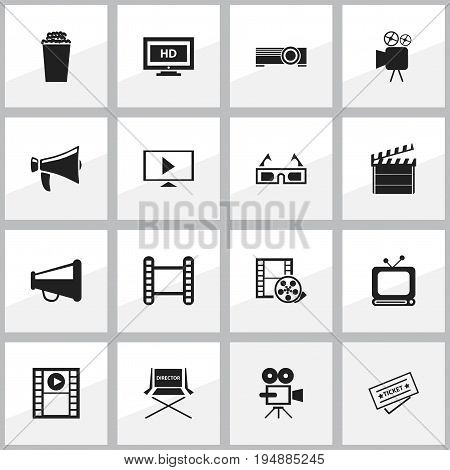 Set Of 16 Editable Cinema Icons. Includes Symbols Such As Shooting Seat, Popcorn, Bullhorn And More. Can Be Used For Web, Mobile, UI And Infographic Design.