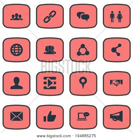 Vector Illustration Set Of Simple Social Media Icons. Elements Point, Genus, Team And Other Synonyms Publish, Chain And Playlist.
