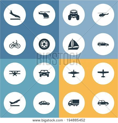 Vector Illustration Set Of Simple Transportation Icons. Elements Aero, Yacht, Downgrade And Other Synonyms Chopper, Wheel And Downgrade.