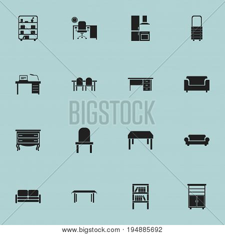 Set Of 16 Editable Interior Icons. Includes Symbols Such As Trestle, Locker, Bookshelf And More. Can Be Used For Web, Mobile, UI And Infographic Design.