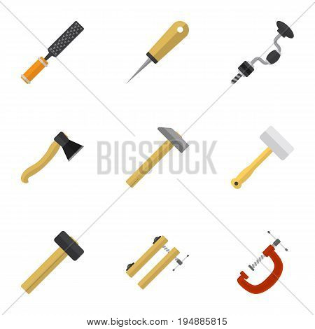 Set Of 9 Editable Instrument Icons. Includes Symbols Such As Bodkin, Axe, Tool And More. Can Be Used For Web, Mobile, UI And Infographic Design.