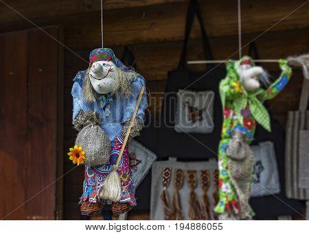 Belarus Dudutki - 11.07.2017: Toy Baba Yaga the heroine of Russian folk tales sewn from cloth