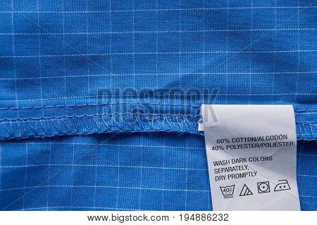 Closeup Blue Plaid Shirt Label