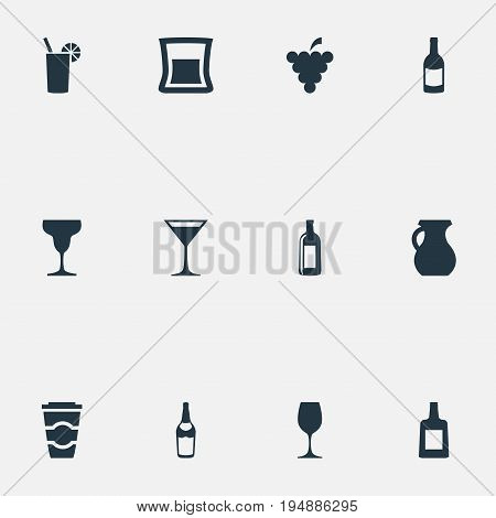 Vector Illustration Set Of Simple Beverage Icons. Elements Champagne, Vodka, Cognac And Other Synonyms Martini, Vineyard And Grapes.