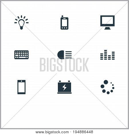 Vector Illustration Set Of Simple Hitech Icons. Elements Bulb, Accumulator, Smartphone And Other Synonyms Dipped, Telephone And Waiting.