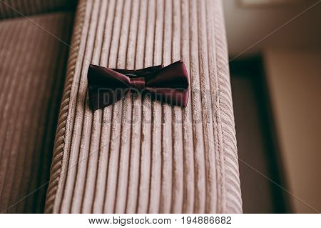 Men's Accessories, Bow Tie Top View, Flat Lay On Wooden Board Background