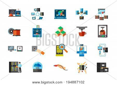 Modern technology icon set. 3d printing Network 3d design Big data Control panel Filament Cube Connection Network socket Bug inspection Bioprinter Hosting Engineer Cloud Usb Server maintenance Catalog