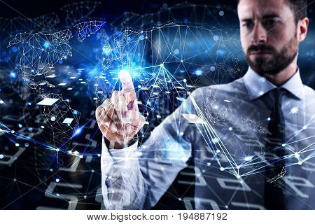 Successful man connecting to global world. Concept of interconnection, internet and network