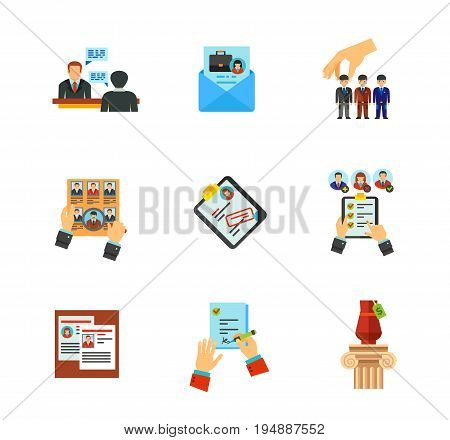 Recruitment icon set. Job interview Cover letter Human resources Head hunting Curriculum vitae Candidate qualification Staff reshuffle Job contract. Contains bonus icon of lot