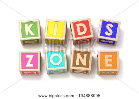 Word KIDS ZONE made of wooden blocks toy 3D render illustration isolated on white background