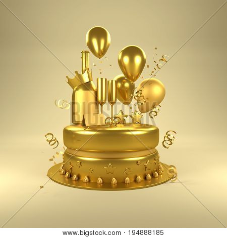 Gold Birthday Surprise. Birthday celebrations with gold balloons gold glasses and champagne bottle and a cake. 3D illustration.