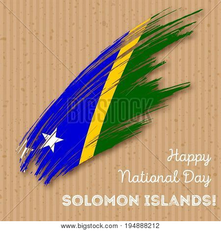 Solomon Islands Independence Day Patriotic Design. Expressive Brush Stroke In National Flag Colors O