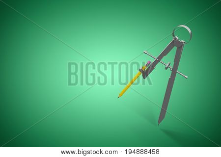 Digital image of drawing compass with pencil against green vignette