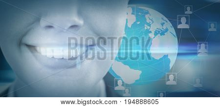 Close up of smiling businesswoman against digitally generated twinkling light design