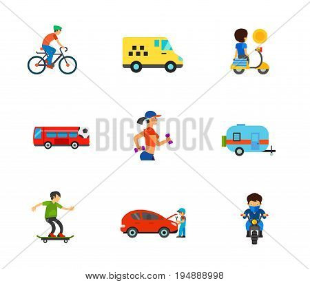 Transport icon set. Cycling man Taxi Moped Fan bus Caravan Open hood Motorbike. Contains bonus icon of Jogging woman and Skater boy
