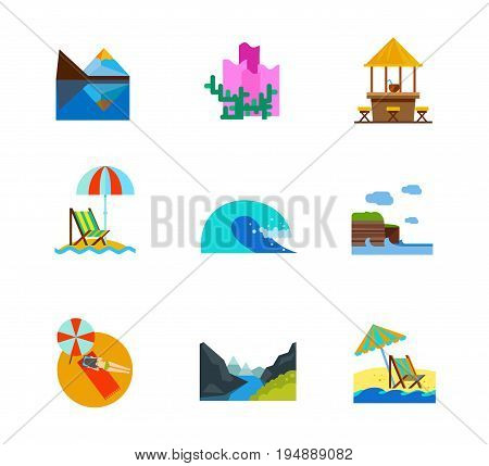 Vacation and sea icon set. Coral Beach bar Beach umbrella and lounge chair Sea wave Sunbathing Reclining chair. Contains bonus icons of Matterhorn peak Cliffs of Moher Geiranger fjord