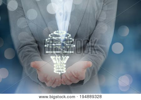 Businesswoman gesturing against white background against glowing background