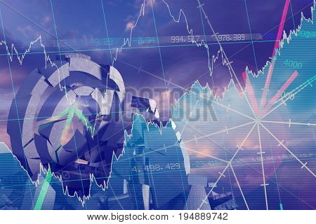 3d composite image of damaged At sign with various symbols  against stocks and shares