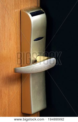 The door handle. Opens by a plastic card