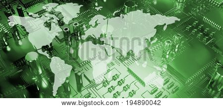 Silhouette of the world against close up of circuit board
