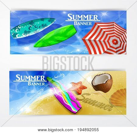 colorful umbrella floating surfing boards and water top view banner set vector illustration