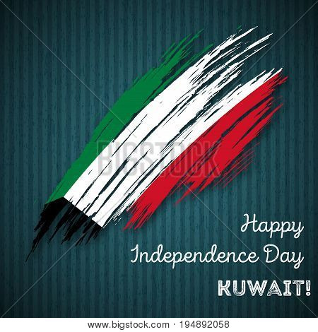 Kuwait Independence Day Patriotic Design. Expressive Brush Stroke In National Flag Colors On Dark St