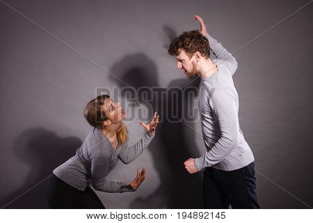 People In Fight. Young Couple Arguing.