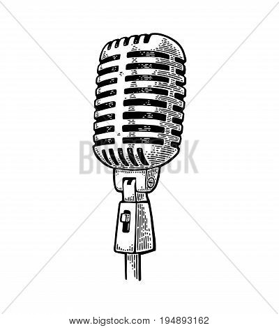 Microphone. Vintage vector black engraving illustration for poster web. Isolated on white background.