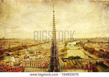 Vintage Picture Of Paris, France