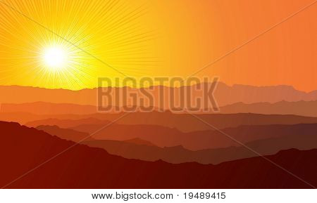 Landscape. Mountains, ascending or a sitting down sun / vector