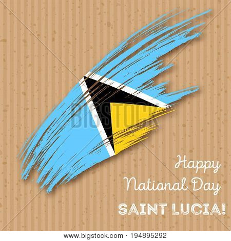 Saint Lucia Independence Day Patriotic Design. Expressive Brush Stroke In National Flag Colors On Kr