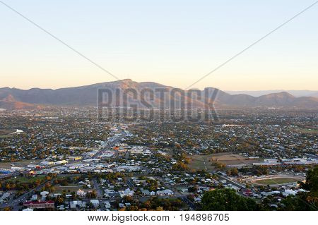 View over Townsville to Mount Stuart in Queensland Australia in the Australian hinterland an area of agriculture and mining