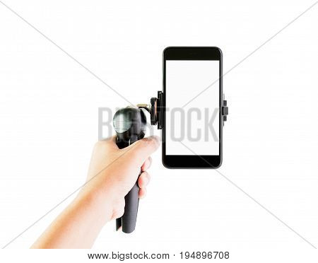 Men hold equipment to make phone to reduce vibration. Make a slide up and make video easier on isolated white background with clipping path inside