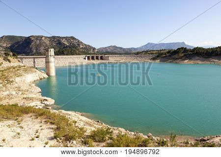 Water reservoir for the hydroelectric plant El Chorro near town Alora. Malaga Province Spain