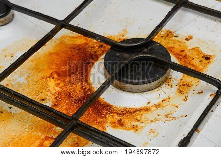 Very Dirty, Covered With Grease One Ring Stove Gas Stove In The Kitchen