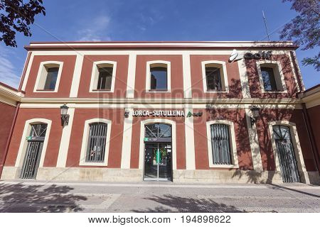 Lorca Spain - May 29 2017: Train Station Lorca-Sutullena in the city of Lorca. Province of Murcia Spain