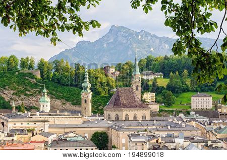 Franciscan Church (Franziskanerkirche) and Mount Untersberg photographed from the Capuchin Monastery (Kapuzinerkloster) - Salzburg Austria