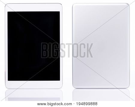 Back and front view of generic tablet isolated on white background