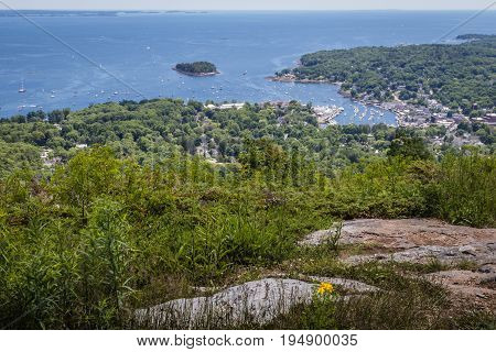 Scenic view of Camden Harbor from Mount Battie at Camden Hills State Park, Maine